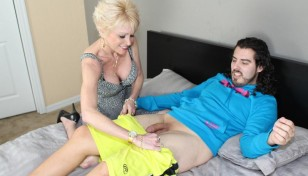 mature blonde undressing a younger guy