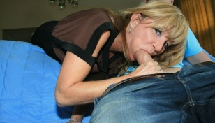 blonde mom giving oral sex